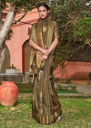Olive Green Woven Art Silk Saree With Blouse