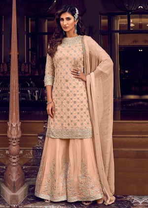 Peach Net Embroidered Sharara Suit