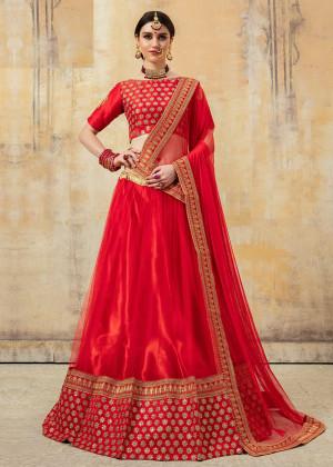 Red Art Silk Embroidered Bridal Lehenga Choli