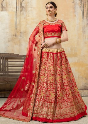 Red Satin Embroidered Lehenga Choli