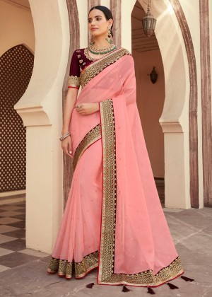 Pink Embroidered Organza Silk Saree