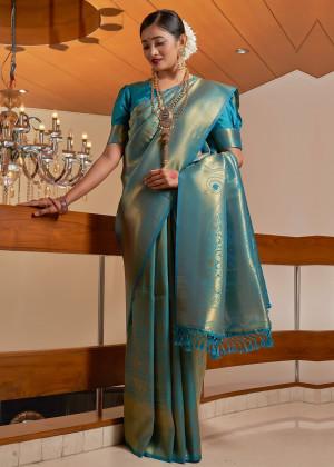 Teal Blue Woven Kanjivaram Silk Saree