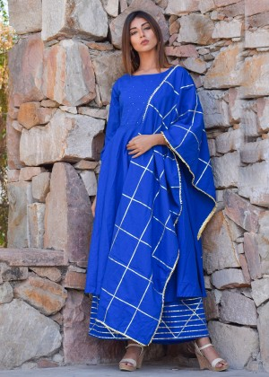 Blue Cotton Palazzo Suit Set