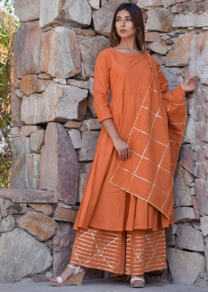 Orange Cotton Palazzo Suit Set