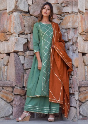 Green Cotton Palazzo Suit Set