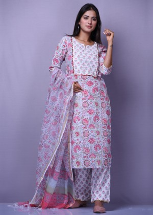 Peach And White Block Printed Suit Set