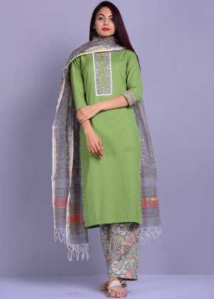 Green Readymade Linen Pant Suit Set