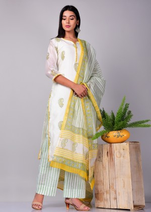 Off White Readymade Chanderi Palazzo Suit