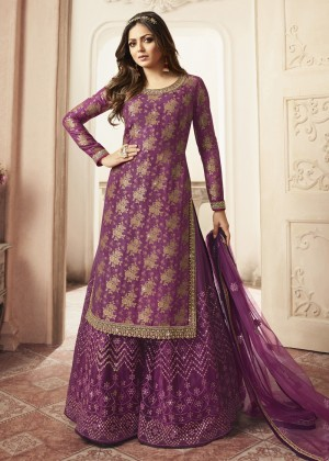 Purple Jacquard Embroidered Pakistani Sharara Suit