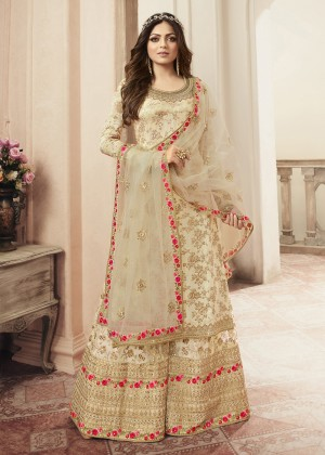 Cream Jacquard Silk Embroidered Sharara Suit