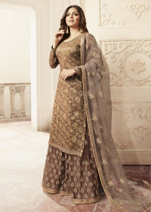Brown Jacquard Embroidered Pakistani Sharara Suit