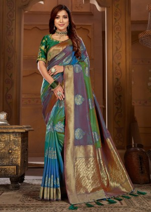 Green & Purple Jacquard Silk Woven Bridal Saree