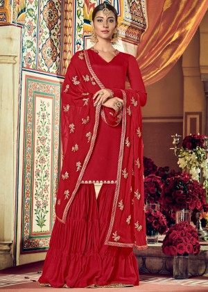 Red Embroidered Georgette Pakistani Sharara Suit