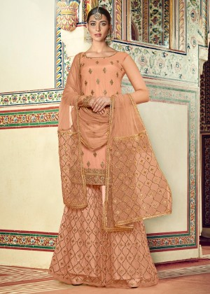 Peach Embroidered Georgette Sharara Suit
