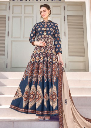 Navy Blue Readymade Printed Anarkali Suit