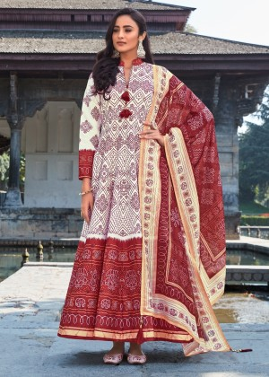 Off White Readymade Silk Anarkali Suit