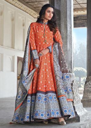 Ornage Readymade Silk Anarkali Suit