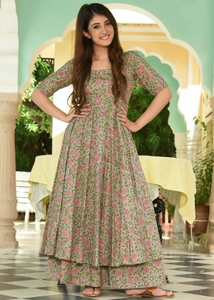 Light Sea Green Readymade Cotton Printed kurta Set