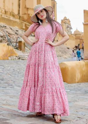 Pink Floral Block Print Readymade Dress