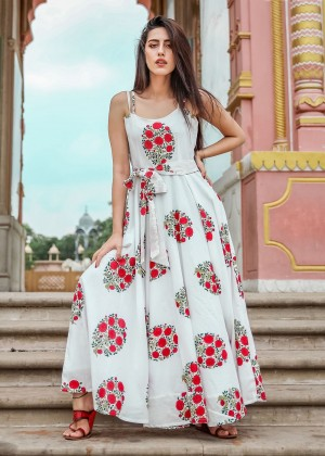 White Floral Block Print Readymade Dress