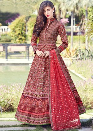Red Readymade Printed Anarkali Suit