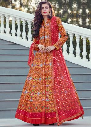 Orange Readymade Printed Anarkali Suit