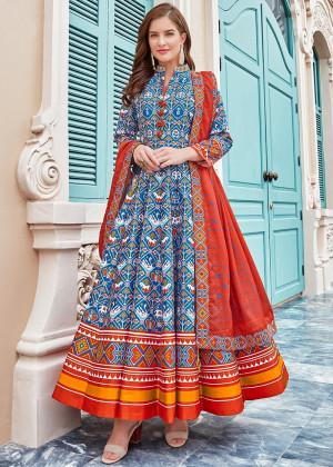 Blue Readymade Digital Print Anarkali Suit With Dupatta