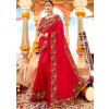 Indian Paridhan - Red Embroidered Art Silk Saree With Blouse