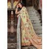 Light Yellow Satin Silk Floral Print Sarees Online Shopping USA