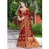 Buy Maroon Satin Silk Embroidered Stone Work Saree Online