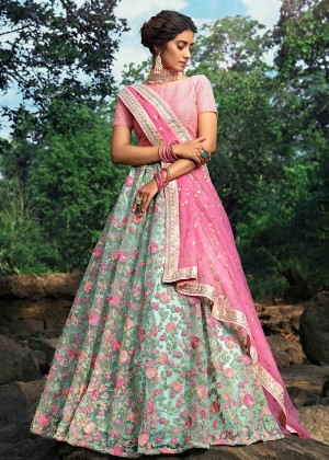Green Net Floral Lehenga Choli With Dupatta
