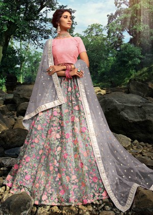 Grey Net Floral Lehenga Choli With Dupatta