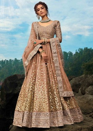 Brown Net Floral Lehenga Choli With Dupatta