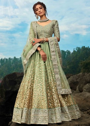 Green Net Sequins Embellished Lehenga Choli