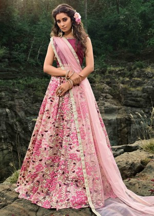 Pink Floral Embroidered Lehenga Choli With Dupatta