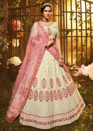 White Embroidered Lehenga Choli With Dupatta