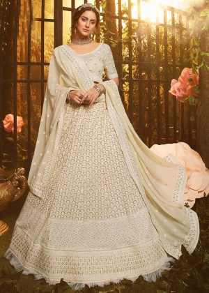 White Frilled Border Embroidered Lehenga Choli