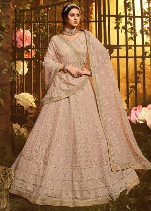 Beige Embroidered Lehenga Choli With Dupatta