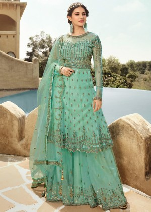 Sea Green Net Pakistani Salwar Kameez Online Shopping
