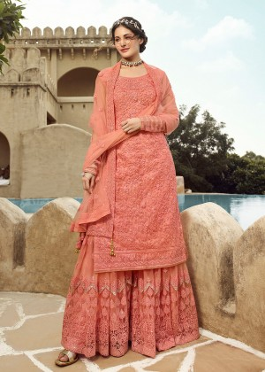 Peach Net Pakistani Sharara Suit With Dupatta