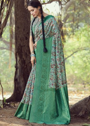 Green Printed Digital Print Saree