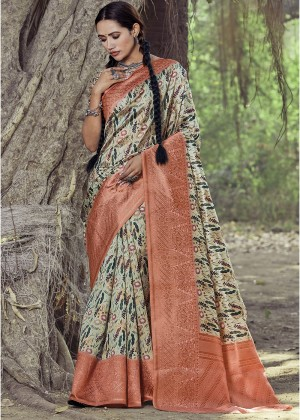 Beige Printed Heavy Border Saree