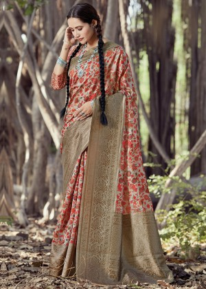 Beige Heavy Border Printed Saree