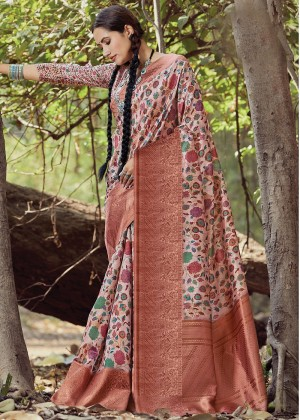 Peach Heavy Border Floral Printed Saree
