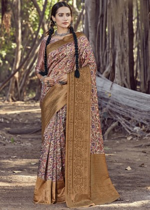 Multicolor Printed Heavy Border Saree