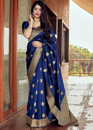 Blue Silk Woven Saree With Blouse