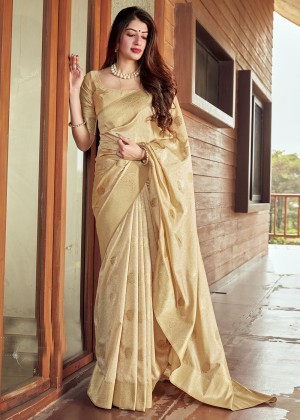 Beige Silk Woven Saree With Blouse