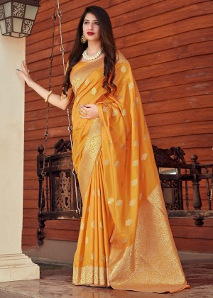 Yellow Silk Woven Saree With Blouse