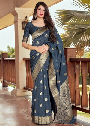 Grey Silk Woven Saree With Blouse