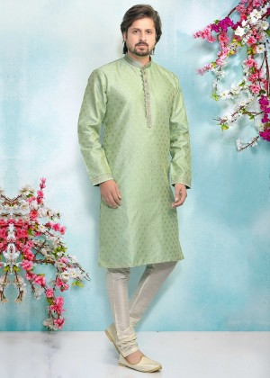 Green Readymade Embroidered Kurta Pajama
